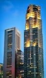 One Raffles Place and UOB Plaza of Singapore skyline Royalty Free Stock Photo