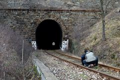 One rail tunnel. In the autumn stock photos