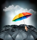 One rainbow umbrella standing out on a grey background. Unique concept. Vector Stock Photo