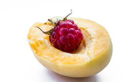 One raspberry in part apricot royalty free stock image