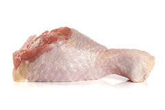 One raw chicken drumstick  on white background.  Royalty Free Stock Images