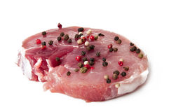 One raw fresh juicy pork steak Stock Photo