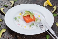 One raw piece of salmon fillet on white plate. Close up photo of fish and avocado and vegetables on wooden table. One raw piece of salmon fillet on white plate Stock Image