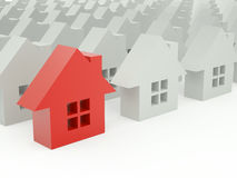 One red 3d house. One 3d red house from set Stock Illustration