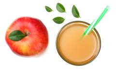 One red apple with apple juice isolated on white background. top view royalty free stock photo