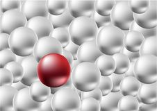 One red ball standing among the crowd of silver ball, difference concept. Royalty Free Stock Photos