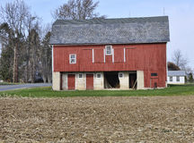 One red barn stock image