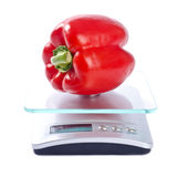 One Red Bell Pepper on a Scale Royalty Free Stock Images