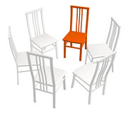 One red chair in a row of white chairs Stock Photo