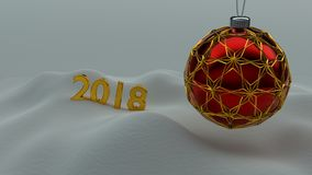 One red christmas ball enclosed with gold ornaments. One red christmas ball enclosed with gold ornaments hanging over snow ground. Year number 2018 made of gold Royalty Free Stock Image
