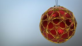 One red christmas ball enclosed with gold ornaments. One red christmas ball enclosed with gold ornaments hanging from the top. Happy new year 2018, merry royalty free illustration