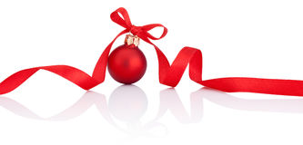 One Red Christmas ball with ribbon bow Isolated on white Stock Photo