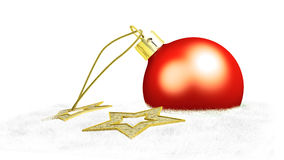 One red christmas ball and two yellow stars. Put on cotton Royalty Free Stock Photo
