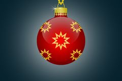 One red  christmas tree ball with golden stars ornament on a blue background illustration. One single red  christmas tree ball with golden stars ornament on a Royalty Free Stock Images
