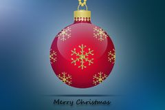 One red christmas tree ball with snowflakes ornament on a blue background. And Merry Christmas text Royalty Free Stock Image