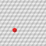 One red cube standing among the crowd of gray cube, difference c Stock Photos