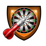 One red darts with round target in center of shield isolated on white. Sport logo for any darts game or championship royalty free illustration