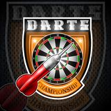 One red darts with round target in center of shield. Sport logo for any darts game or championship stock illustration