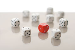 One red dice among white ones Stock Photography