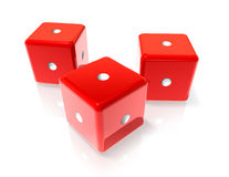 One red dices. Three 3D red dices with one dot on all sides Royalty Free Stock Image