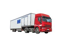 one red diesel heavy cargo truck fuel lorry Royalty Free Stock Images