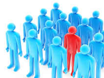One red figure between many blue peoples. On white background Stock Photo
