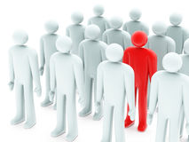 One red figure between many gray peoples. On white background Royalty Free Stock Photo