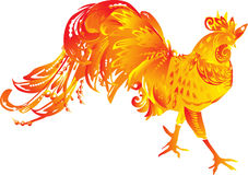 One red flame rooster on white Royalty Free Stock Photos