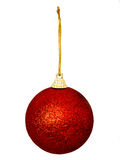 One red glittery Christmas bauble isolated Stock Photography