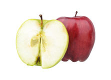One red and a half of green apples Stock Photos