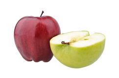 One red and a half of green apples Stock Photo