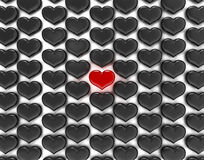One Red heart among black Royalty Free Stock Photos