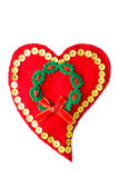 One red heart made of felt handmade Stock Image