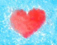 One Red Heart Watercolor royalty free stock photos
