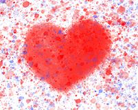 One Red Heart Watercolor stock photo