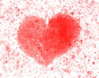 One Red Heart Watercolor royalty free stock photo