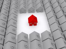 One red house. Housing concept of one red house in an estate of gray houses royalty free illustration