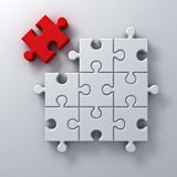One red jigsaw puzzle the last piece stand out from the crowd different concept on white wall background with shadow. 3D rendering Stock Photo