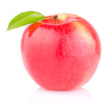 One red juicy apple with green leaf on white Royalty Free Stock Image