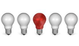One red light bulb in row of white ones. Front view Stock Images