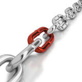 One red link in a chrome chain Stock Photo