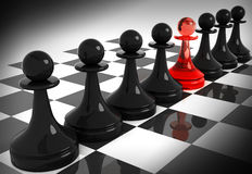 One red made of glass pawn among seven black. Chess pieces: one red made of glass pawn among seven classical shape black pawns on the chessboard. 3d render Stock Photo