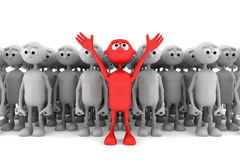 One red man stand out from the crowd Royalty Free Stock Image
