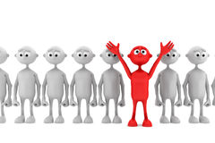 One red man stand out from the crowd Stock Photo
