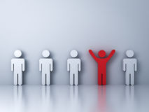 One red man standing with arms wide open among other people on white. Stand out from the crowd and different creative idea concepts , One red man standing with Stock Image