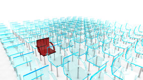 One red of many chairs. One red of many blue chairs as concept for individuality Stock Photography