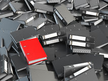 One red office binder and pile of black others.  Archive. File s. Earching concept. 3d illustration Stock Images