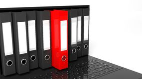 One red office folders among black ones Royalty Free Stock Images