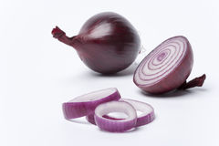 One red onion,half and rings on white background Stock Photography