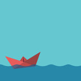 One red paper boat Royalty Free Stock Images